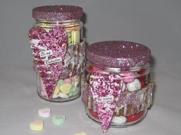 Valentine Glitter Candy Jars