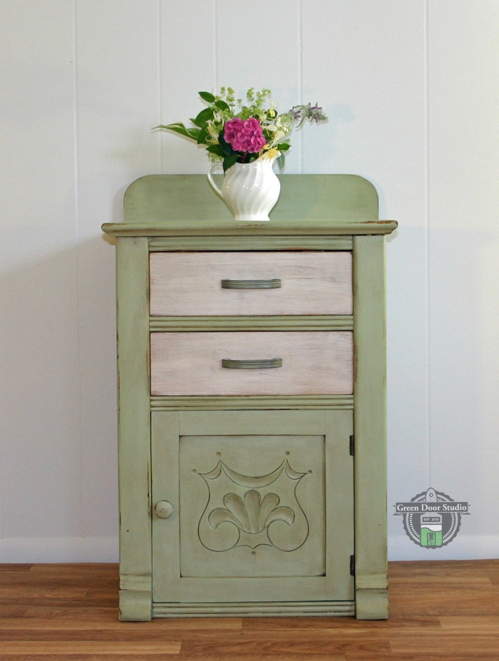 green and white cabinet w logo