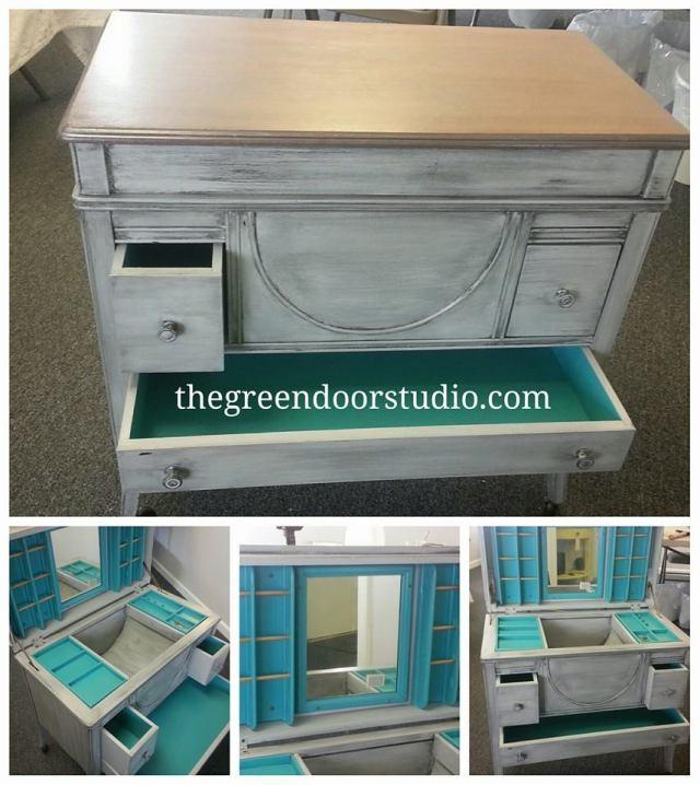 green door studio glazed sewing cabinet